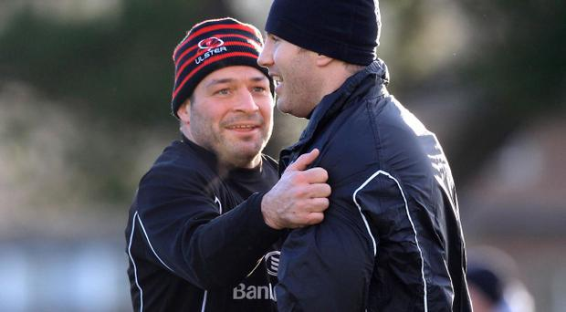 Rory Best (left) larks around with Ulster team-mate Roger Wilson during training at Pirrie Park, Belfast, yesterday