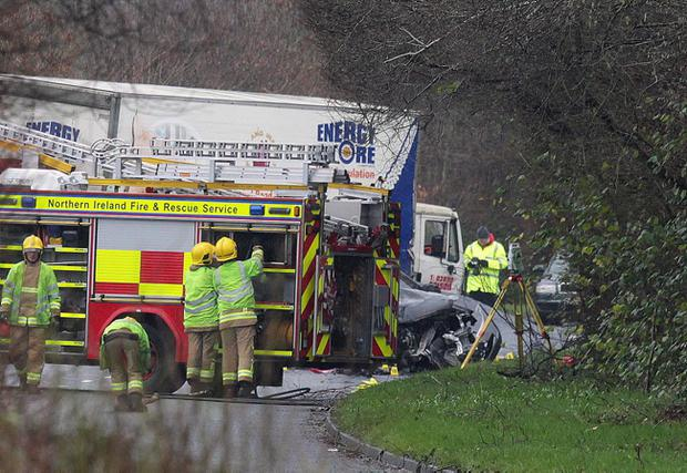 A man in his 20s has died after a car crash involving a lorry in south Belfast. Pic Matt Mackey