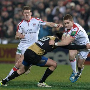 Paddy Jackson is tackled by Enzo Selponi during Friday's Heineken Cup Pool 5 game between Ulster and Montpellier at Ravenhill, Belfast. Pic Charles McQuillan