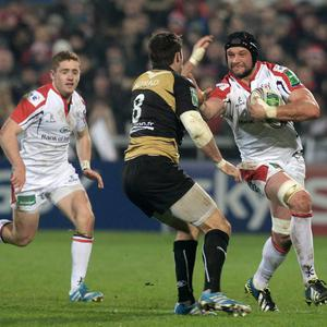 Dan Touhy is tackled by Johnnie Beattie during Friday's Heineken Cup Pool 5 game between Ulster and Montpellier at Ravenhill. Pic Charles McQuillan