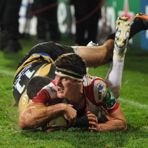 10/1/2014. PACEMAKER PRESS INTL. Robbie Diack goes over for a try during this evenings Heineken Cup Pool 5 game between Ulster and Montpellier at Ravenhill, Belfast. PICTURE CHARLES MCQUILLAN/PACEMAKER.