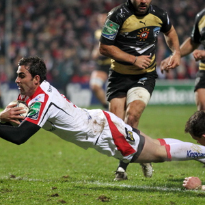 Ulster v Montpellier at Ravenhill, Belfast. Ruan Pienaar dives over for Ulster's second try. Pic Darren Kidd
