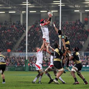 ©Press Eye Ltd Northern Ireland - 10th January 2014 Mandatory Credit - Darren Kidd /Presseye.com Heineken Cup Pool 5, Ulster v Montpellier at Ravenhill, Belfast. Ulster's Johann Muller (c) wins the ball in the line