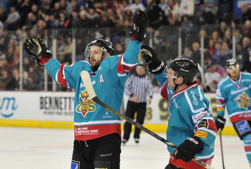 11/1/14: Colin Shields of the Belfast Giants celebrates after scoring the forth goal against the Cardiff Devils during the Elite League game at the Odyssey Arena, Belfast.
