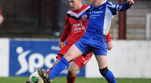Action from Ballyclare Comrades v Kilmore Rangers in the fifth round of the Irish Cup