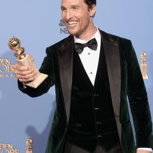 BEVERLY HILLS, CA - JANUARY 12: Actor Matthew McConaughey, winner of Best Actor in a Motion Picture - Drama for 'Dallas Buyers Club,' poses in the press room during the 71st Annual Golden Globe Awards held at The Beverly Hilton Hotel on January 12, 2014 in Beverly Hills, California. (Photo by Kevin Winter/Getty Images)