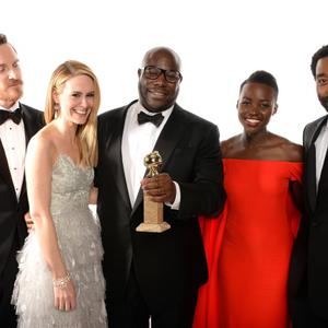 BEVERLY HILLS, CA - JANUARY 12: (L-R) Actors Michael Fassbender, Sarah Paulson, director Steve McQueen, Lupita Nyong'o and Chiwetel Ejiofor, winners of Best Picture for '12 Years a Slave' pose for a portrait during the 71st Annual Golden Globe Awards held at The Beverly Hilton Hotel on January 12, 2014 in Beverly Hills, California. (Photo by Dimitrios Kambouris/Getty Images)