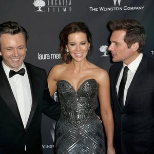 BEVERLY HILLS, CA - JANUARY 12: (L-R) Actors Michael Sheen, Kate Beckinsale, and director Len Wiseman attend The Weinstein Company & Netflix's 2014 Golden Globes After Party presented by Bombardier, FIJI Water, Lexus, Laura Mercier, Marie Claire and Yucaipa Films at The Beverly Hilton Hotel on January 12, 2014 in Beverly Hills, California. (Photo by Ari Perilstein/Getty Images for The Weinstein Company)