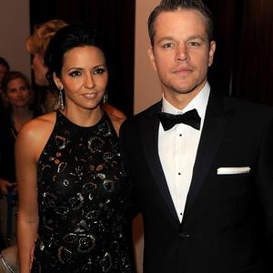 BEVERLY HILLS, CA - JANUARY 12: Actor Matt Damon (R) and Luciana Barroso attend the 71st Annual Golden Globe Awards cocktail party held at The Beverly Hilton Hotel on January 12, 2014 in Beverly Hills, California. (Photo by Kevin Winter/Getty Images)
