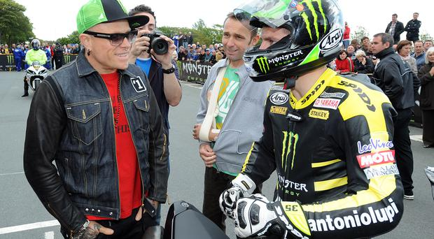 Keith Flint from The Prodigy chats with Cal Crutchlow