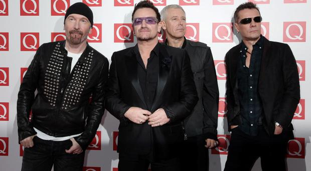 The Edge, Bono, Adam Clayton and Larry Mullen Jr of U2 as their song 'Ordinary Love' from 'Mandela: Long Walk to Freedom' has been nominated for the best original song Oscar
