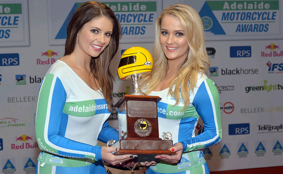 Adelaide girls Jacqueline Gracey and Rachel McCartan at the Adelaide Motorcycle Awards
