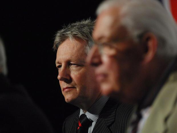 DUP leader Peter Robinson with former leader Ian Paisley at a rally in the King's Hall,Belfast