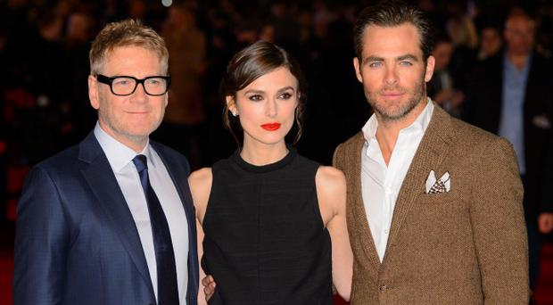 (left to right) Director Kenneth Branagh, Keira Knightley and Chris Pine arrive at the European film premiere for Jack Ryan at the Vue cinema, Leicester Square, London. PRESS ASSOCIATION Photo. Picture date: Monday January 20, 2014. Photo credit should read: Dominic Lipinski /PA Wire
