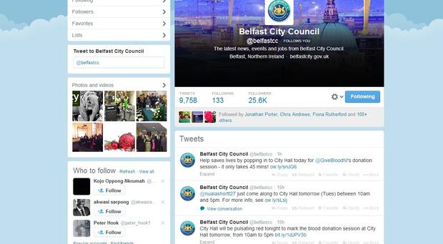Belfast City Council's Twitter page