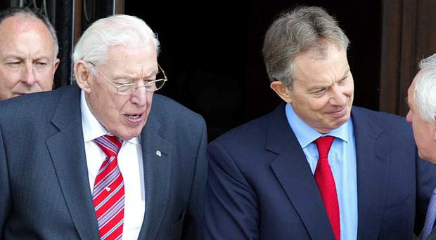 Ian Paisley and Tony Blair, pictured in 2007 on the first day of the Northern Ireland Assembly.