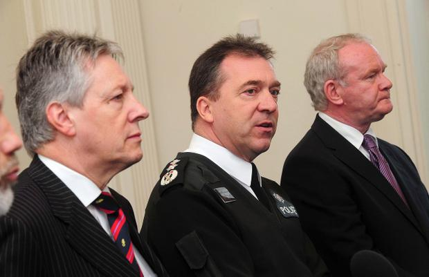 Peter Robinson, PSNI chief constable Matt Baggott and Martin McGuinness holding a press conference in 2011 after police officer Constable Ronan Kerr, 25, was killed by a bomb planted under his car