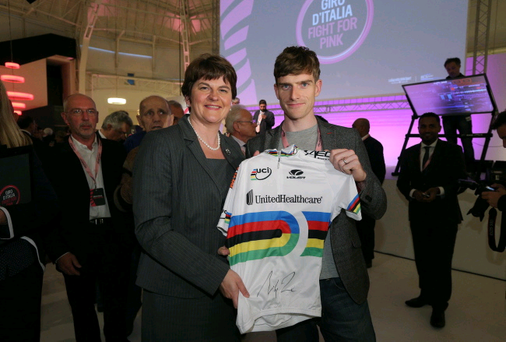 Arlene Foster pictured with world track champion Martyn Irvine