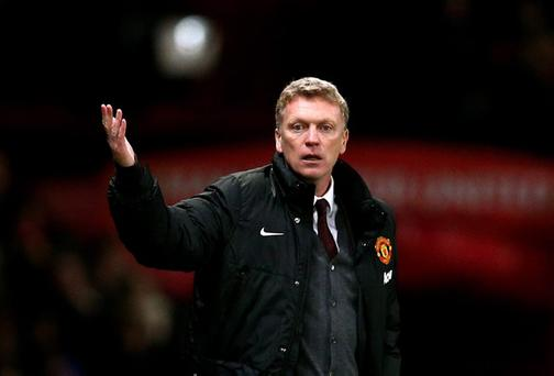 David Moyes, seen here during Wednesday's game, has overseen some poor results in his fledgling Manchester United career, but the club's owners are believed to be keeping faith in him as he attempts to overhaul the current first-team squad