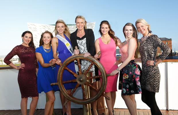 The launch of Open + Direct Miss Northern Ireland 2014 on board the SS Nomadic, Belfast. Pictured (left to right): Emma Louise Dowie, Hannah Clarke, Meagan Green, Alison Clarke, Grace Gilmour, Zoe Salmon and Judith Grey.