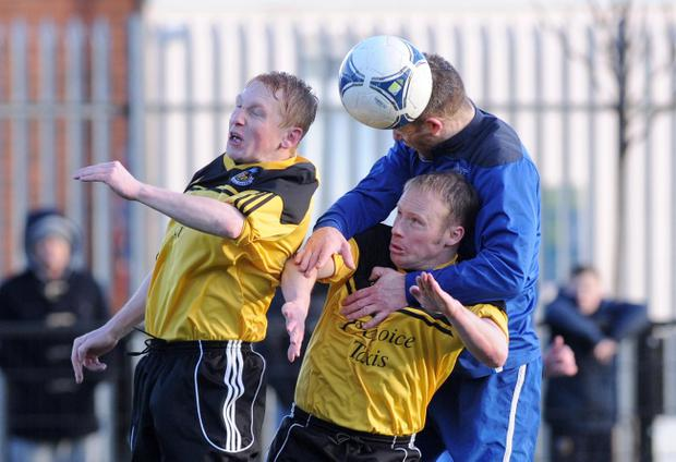 Action from Shankill United v Albert Foundry, January 25