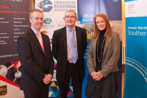 Category sponsors Brian Mooreland from Moypark and Brian Hunter from CIDO are pictured with Shirley Madden from Madden Black at 2014 Craigavon Business Awards launch. *** Local Caption *** Category sponsors Brian Mooreland from Moypark and Brian Hunter from CIDO are pictured with Shirley Madden from Madden Black at 2014 Craigavon Business Awards launch.