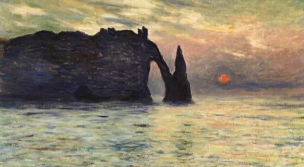 The Manneport, Cliff at Etretat, Sunset, by Claude Monet (1883)