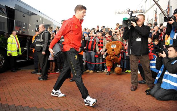 Liverpool captain Steven Gerrard will lead his team out against Everton tonight