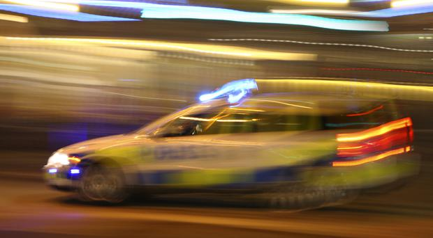 Police pursued the Audi A3 in west Belfast on Monday morning