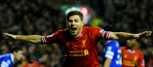 Steven Gerrard of Liverpool celebrates after scoring the opening goal during the Barclays Premier League match between Liverpool and Everton at Anfield on January 28, 2014 in Liverpool, England. (Photo by Laurence Griffiths/Getty Images)
