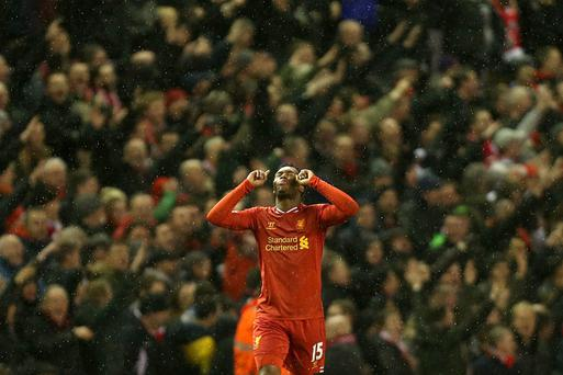 Sturridge celebrates scoring second goal