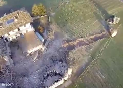 The boulder crashed through vineyards and fields before eventually coming to a stop