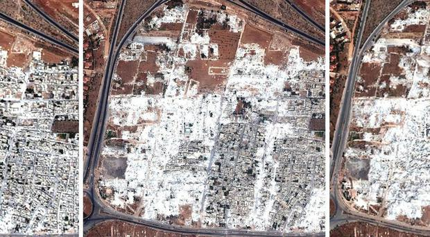 This combination of satellite images released by Human Rights Watch shows the Masha al-Arbíeen neighborhood in Hama, Syria on 28 September, 3 October and 13 October 2012. AP Photo/Human Rights Watch via Digital Globe
