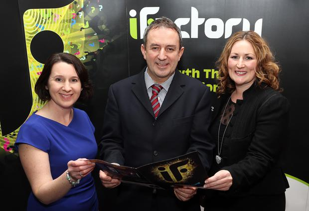 Lorraine McCourt, SEUPB; David Moorhead from Tempo company Green Sword, a finalist in the Innovation in Export category of the iFactory awards, and Clare McGee from NORIBIC, which delivered the iFactory programme.