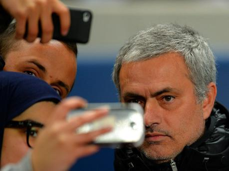 MANCHESTER, ENGLAND - FEBRUARY 03: Jose Mourinho manager of Chelsea poses for a photograph with fans during the Barclays Premier League match between Manchester City and Chelsea at Etihad Stadium on February 3, 2014 in Manchester, England. (Photo by Shaun Botterill/Getty Images)
