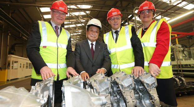 First Minister Peter Robinson and deputy First Minister Martin McGuinness are pictured with Ryobi chairman Hirsoshi Urakami and Enterprise Minister Arlene Foster. Ryobi Aluminium Casting (UK), Limited is investing £32 million in its Carrickfergus plant, creating 100 new jobs.
