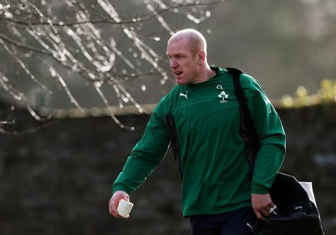 Ireland's Paul O'Connell arrives for the training session at Carlton House, Dublin, Thursday February 6, 2014