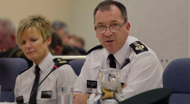 Chief Constable Matt Baggott and Deputy Judith Gillespie at the Policing Board meeting in Belfast this afternoon. Pic Charles McQuillan