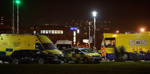 The ambulance service have declared a 'major incident' with some 60 teenage casualties suffering from the ill-effects of alcohol and drugs at Belfast's Odyssey Arena. Pic Arthur Allison