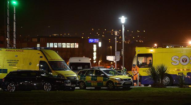 The ambulance service declared a 'major incident' with some 60 teenage casualties suffering from the ill-effects of alcohol and drugs at Belfast's Odyssey Arena. Pic Arthur Allison