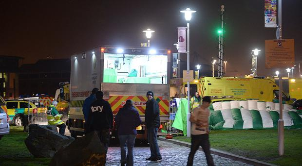 The ambulance service declared a 'major incident' with teenage casualties suffering from the ill-effects of alcohol and drugs at Belfast's Odyssey Arena. Pic Arthur Allison