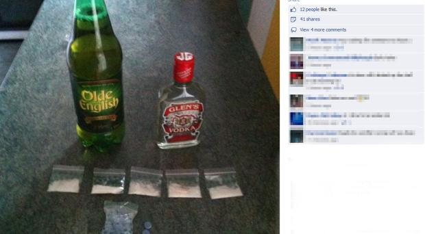 An image of alcohol and drugs posted by a user on Facebook ahead of the Hardwell concert