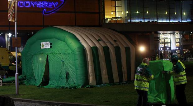 A medical tent outside the Odyssey Arena in Belfast after youngsters became ill during a DJ Hardwell concert