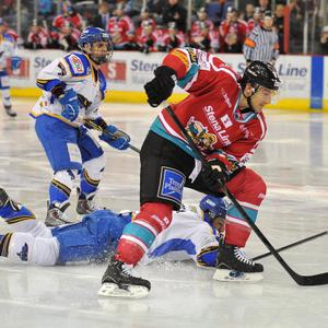 Jeffrey Szwez of the Belfast Giants in action against Omar Pacha of the Hull Stingrays during the Elite League game at the Odyssey Arena, Belfast. Picture: Michael Cooper