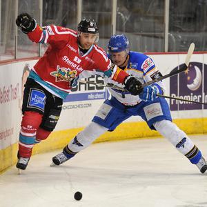 Jeff Mason of the Belfast Giants in action against Martin Ondrej of the Hull Stingrays during the Elite League game at the Odyssey Arena, Belfast. Picture: Michael Cooper