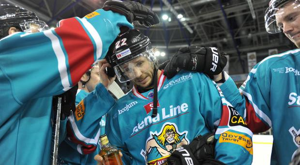 8/2/14: Man of the match, Kevin Saurette of the Belfast Giants celebrates after the 6-4 win against the Fife Flyers Elite League game at the Odyssey Arena, Belfast.