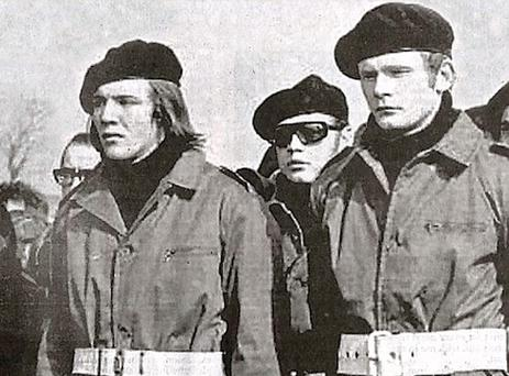 Martin McGuinness pictured (Far right) pictured at the funeral of explosives expert Colm Keenan in 1972