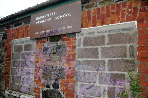 The dilapidated remains of Ravarnette Primary School in Lisburn