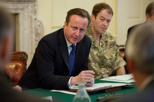 David Cameron speaks as he chairs the Government's Cobra emergency meeting over ongoing flooding