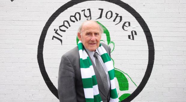 Jimmy Jones pictured after unveiling a mural to the Belfast Celtic Legends of the Falls road in Belfast. Picture By: Arthur Allison.